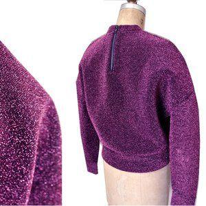 Metallic Purple Glitter Neoprene Future Sweatshirt